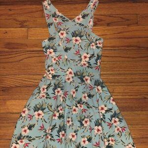 Hollister Tropical Print Blue Skater Dress XS